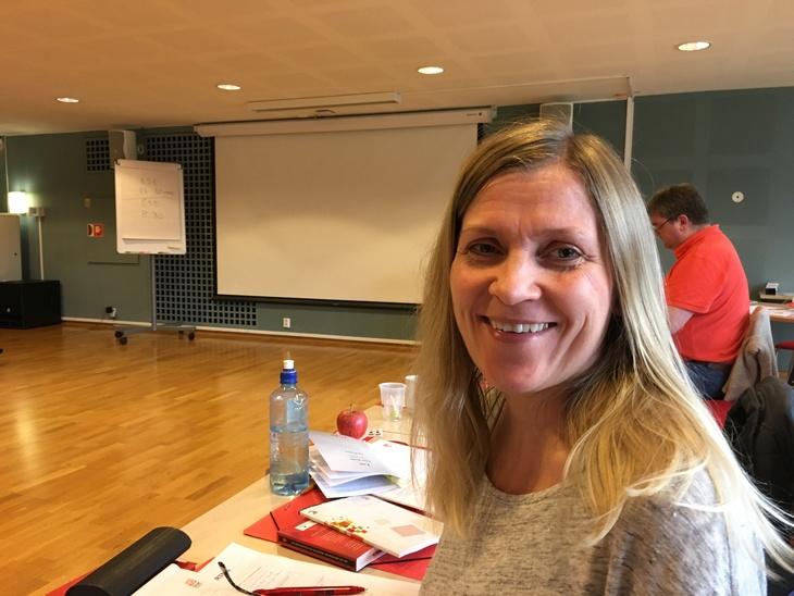 Berit Johnsen, NTL Forsvaret på kurs i Skift og turnus. Sørmarka, april 2016
