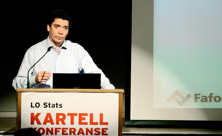 Torgeir Aarvaag Stokke (Fafo) på Kartellkonferansen i november.  Foto: Erlend Dalhaug Daae