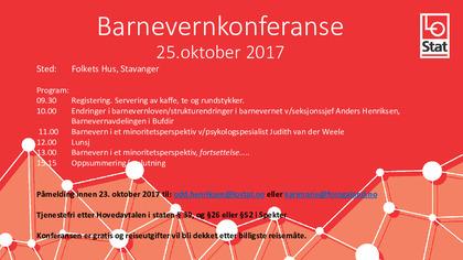 Barnevernkonferanse, Folkets Hus, Stavanger