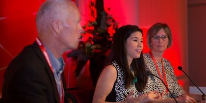 Robert Mood, Lan Marie Nguyen Berg og Ingerid S. Straume var invitert til Gol for å snakke om togradersmål og en verden i endring