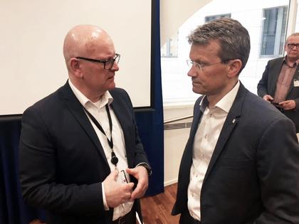 Statens personaldirektør Gisle Norheim og LO Stats leder Egil André Aas
