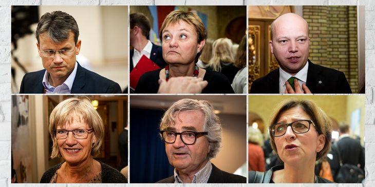 Øverst fra venstre: Egil André Aas (leder, LO Stat), Rigmor Aasrud (Ap) og Trygve Slagsmål Vedum (Sp). Nederst fra venstre: Karin Andersen (SV), Petter Aaslestad (leder, Forskerforbundet) og Eli Gunhild By (leder, Sykepleierforbundet)
