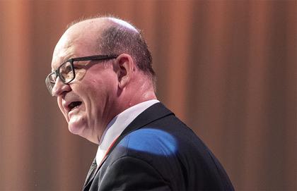 John Leirvaag under åpningstalen til NTL-landsmøtet 2018