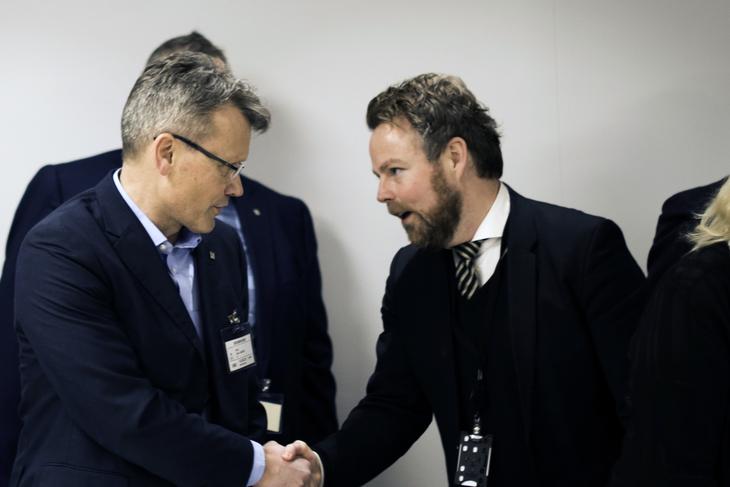 LO Stats leder Egil André Aas og arbeidsminister Torbjørn Røe Isaksen