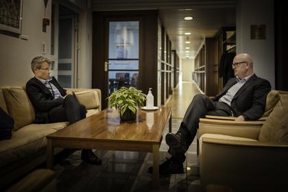 PARTSSAMARBEID: LO Stat-leder Egil André Aas (t.h.) og personaldirektør Gisle Norheim i staten skal reforhandle hovedavtalen i staten i mars.