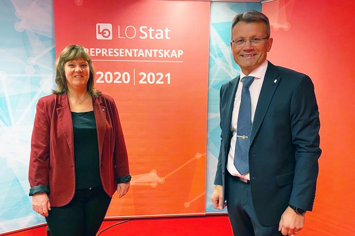 Leder i LO Stat, Egil André Aas og nestleder Lise Olsen er klar for representantskapsmøte i LO Stat.