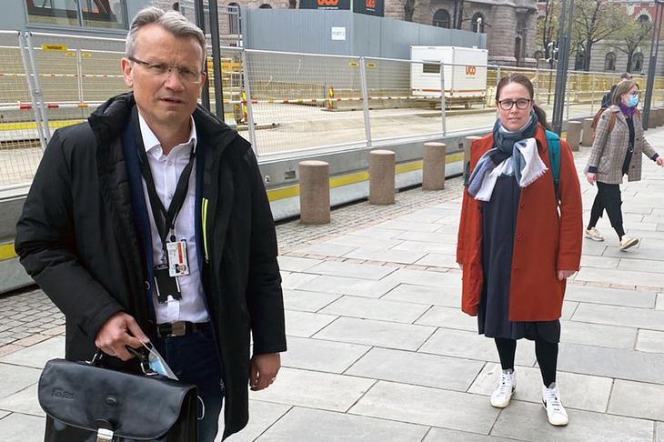 LO Stats leder Egil André Aas og NTL-leder Kjersti Barsok under statsoppgjøret 2021