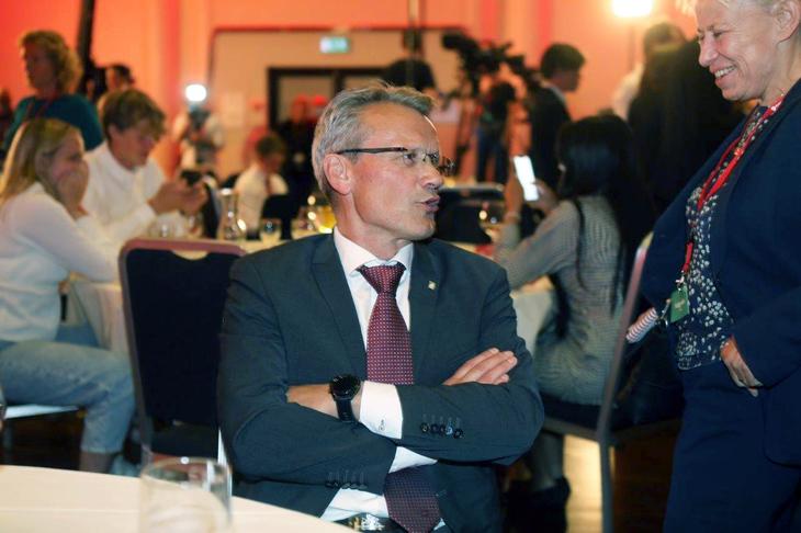 LO Stats leder gleder seg over valgseieren. Foto: Morten Hansen