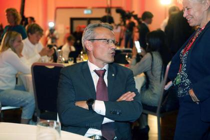 LO Stats leder Egil André Aas gleder seg over valgseieren. Foto: Morten Hansen