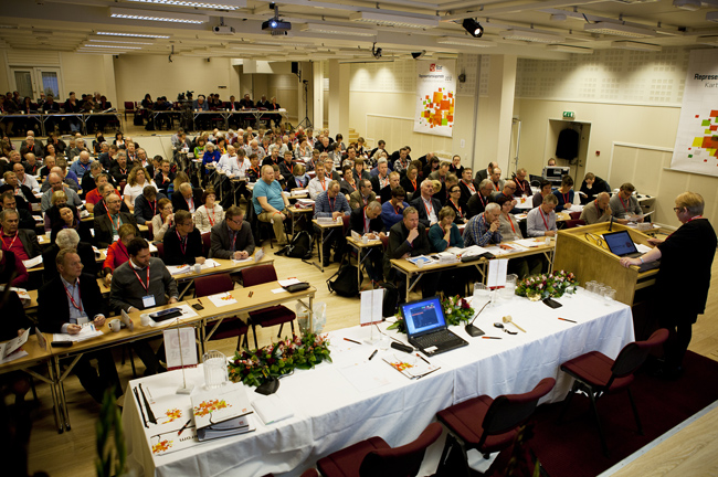 Fra konferansesalen på Gol. Foto: Ole Palmstrøm