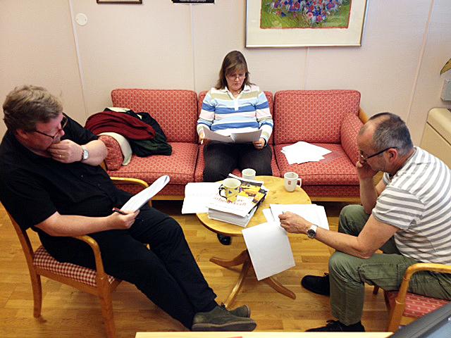 TRAVEL VÅR?: LO Stats folk i Spekter er forberedt på en travel tariffvår. Fra venstre Eivind Gran, Lise Olsen og Øystein Gudbrands.