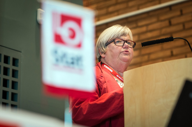 Tone Rønoldtangen på LO Stats landskonferanse, Sørmarka onsdag. Foto: Kristian Brustad