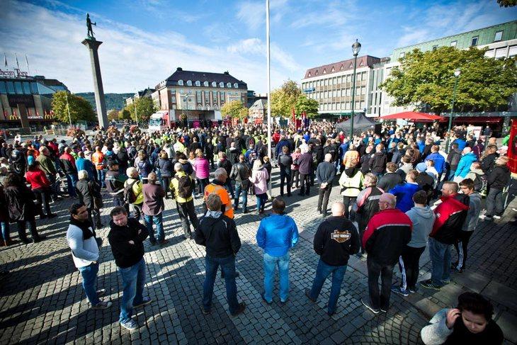 Mobilisering i Trondheim til forsvar for dagens arbeidsmiljølov. Foto Ole Palmstrøm