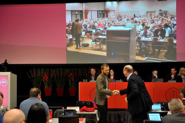 GJEST: SV-leder Audun Lysbakken gjestet NTLs landsmøte insdag. Foto: Anders Hauge-Eltvik