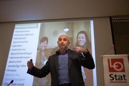 Dag Terje Andersen stilte til Kartellkonferansen på kort varsel etter at Jonas Gahr Støre måtte melde sykdomsforfall. Foto: Morten Hansen