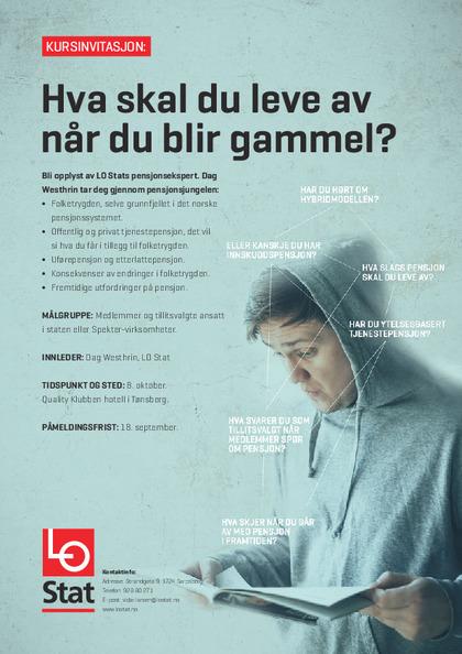 Invitasjon til pensjonskurs, Tønsberg oktober 2015